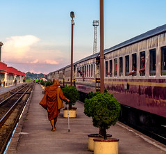 Monk in train station (Romain Roellet) Tags: monk train station thailand asia asean thaland asian orange buddhism religion sunset golden hour street photography photo beautiful pink contrast saturation summer travel holidays vacations trip vacation just go shoot sky red art people peoples old school trains