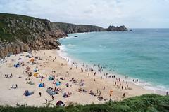 Porthcurno Beach, Cornwall (harry.blytheallen) Tags: yacht minacktheatre cliff waves busy gb uk england coast headland sea sand summer landsend cornwall beach august