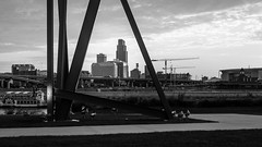 omaha - in black & white (laughlinc) Tags: 2016 bw blackandwhite city cityscape laughlinc lightroom nebraska nikon1755mm24 nikond7200 omaha rivercitystar riversedgepark riverfront skyline tomhanafanriversedgepark nikon