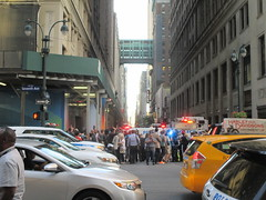 Rush Hour Crowd Walking Past Crime Scene 7th Ave 2016 NYC 5432 (Brechtbug) Tags: akram joudeh attacked an offduty nypd officer with 11inch cleaver from his waistband near penn station height evening rush hour thursday wounding cop face before being shot 18 times by police nyc 2016 midtown manhattan 7th ave 32nd street crowds checking out scene 9152016 new york city crime
