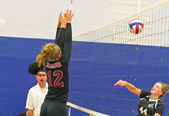 IMG_9519 (SJH Foto) Tags: girls volleyball high school stroudsburg pa pennsylvania team tween teen teenager varsity net battle spike block action shot jump midair