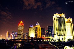 Doha Corniche 2014 - canon 70D ,, 18-20mm (abdullahh96596) Tags: faves views corniche lamps nightphotography clouds city night week explore 2014 arabiagulf nikon 70d canon photoshop photography photographers towers qatar doha
