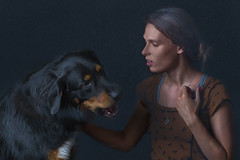 Lucia and Vilda (Rostislav Smolej) Tags: girl dog young woman low key