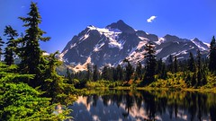 Picture Lake (Sworldguy) Tags: washington picturelake cascades landscape alpine mountains reflections forest trees water nature serene sky nikon d7000 dslr attraction colorful snoqualmienationalforest snow outdoors tourism mountainpeak summer mtshuksan