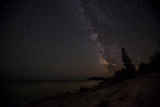 Milky Way and a meteor in Acadia