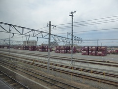 Lots of containers (seikinsou) Tags: japan spring haruka train jr railway kyoto kix kansai airport container cargo freight track cable