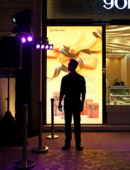 """""""just a security guard or really a model?"""" (hugo poon - one day in my life) Tags: xt2 23mmf2 hongkong wanchai leetungavenue citynight lights colours shopping securityguard solitude"""