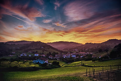 Sunset (RoCafe) Tags: sunset landscape countryside field sky clouds village gipuzkoa basquecountry nikkor2470f28 nikond600