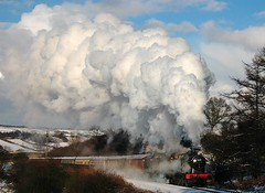 20051228      6619 and 45212 double-headed. (paulbrankin775) Tags: 6619 gwr 45212 black5 stanier snowy snow steam doubleheader december 2005 north yorkshire moors railway train steamy grosmont 1in49 gradient