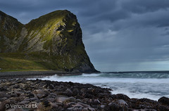 Lofoten (ekveronica) Tags: lofoten norway surf mountain water nature outdoors waves sea beach rocks stormy green blue
