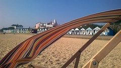 Blowing in the wind, Southwold Beach, Suffolk, 15th Sept 2016. (Dave Wragg) Tags: deckchair southwold beach suffolk sand beachhuts england seaside