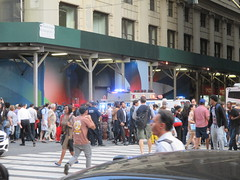 Rush Hour Crowd Walking Past Crime Scene 7th Ave 2016 NYC 5428 (Brechtbug) Tags: akram joudeh attacked an offduty nypd officer with 11inch cleaver from his waistband near penn station height evening rush hour thursday wounding cop face before being shot 18 times by police nyc 2016 midtown manhattan 7th ave 32nd street crowds checking out scene 9152016 new york city crime