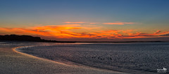 Sunset panorama (BraCom (Bram)) Tags: bracom sunset cloud wolk birds vogels clouds wolken glow gloed curve bocht reflection spiegeling beach strand dunes duinen stellendam goereeoverflakkee haringvliet zuidholland nederland southholland netherlands holland canoneos5dmkiii canon panorama canonef24105mm bramvanbroekhoven nl