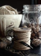 just a thread (..Ania.) Tags: life thread vintage still bowl scissors jar simple pinecones spool