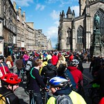 cycling down the Royal Mile