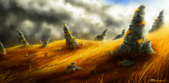 Yellow fields (Youset) Tags: sky grass illustration speed photoshop painting rocks phil environment concept wacom uset cs5 zalami