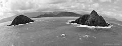 Mokulua Islands (Joshua Ewing) Tags: ocean leica blackandwhite island hawaii islands pacific oahu fisheye tropical tropicalislands kailua lanikai fisheyelens mokuluaislands pacificislands hawaiianislands kailuabay leicadigital leicadigilux3 digilux3 themokes joshuaewing