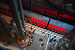 Minaiture Look of Berlin Hbf (Yohsuke_NIKON_Japan) Tags: red berlin station train germany miniature nikon europe eu sigma db hauptbahnhof german  berlinhauptbahnhof 10mm    d300s