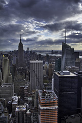 30RockHDR05sm (Shabdro Photo) Tags: nyc newyorkcity sunlight skyline horizon rockefellercenter naturallight midtown cielo esb empirestatebuilding sunrays 1022mm 30rock bankofamericatower 1wtc canon7d shabdrophoto shabdro