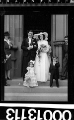 Bride and groom leaving St Marys Cathedral, Sydney