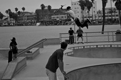 Air time (C.Preston Roberts) Tags: boy blackandwhite bw man male boys sport nikon child skateboarding action air skate skateboard venicebeach skater airtime hangtime d700