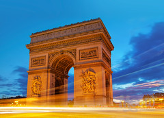 Arc De Triomphe (peterotoole) Tags: road old longexposure blue light sunset sculpture blur paris france brick history apple monument lamp architecture night clouds digital photoshop gold lights photo movement mac aperture nikon europe raw cityscape arch traffic dynamic time zoom dusk tripod capital  trails warmth headlights structure iso peter nighttime hour processing slowshutter handheld lighttrails dslr range nuit highdynamicrange taillight flicker slowshutterspeed otoole starbust arcdetriomhe bfv1 d7k roseawards awardflickrbest d7000 nikond7000 peterotoole