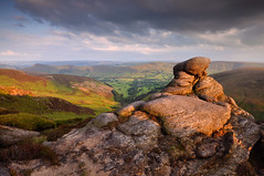 Kinder Scout (Paul Newcombe) Tags: uk sunset summer england english rain june clouds landscape photography countryside nationalpark rocks derbyshire peakdistrict wideangle british tor tamron warmlight gritstone highpeak 1024 kinderscout sidelight 2011 britnatparks paulnewcombe