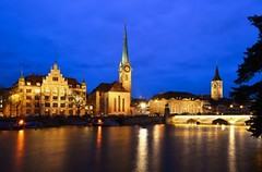 Zurich skyline with Limmat river, Fraumünster Abbey & Münsterbrücke bridge (Sir Francis Canker Photography ©) Tags: bridge blue lake tower tourism church abbey architecture night river stars landscape lights switzerland twilight nikon cityscape suisse suiza dusk zurich watch landmark visit icon belltower campanile nocturna romantic bluehour zürich helvetia svizzera romanesque impressive canton ch confederation touristic limmat münsterbrücke zurigo fraumünster svizra horaazul