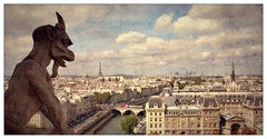 Panoramic view from Gallery of Chimera, Notre Dame, Paris (woto) Tags: paris france river louvre panoramic notredame invalides chimera saintechapelle dfense sena quimera eifeeltower
