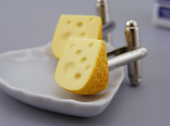 Gouda Cufflinks (Shay Aaron) Tags: food yellow miniature geek handmade hard mini jewelry collection polymerclay fimo salty tiny wearable petit cufflinks shayaaron