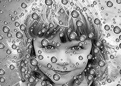 girl (*LINNY *) Tags: bw art girl blackwhite bubbles