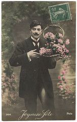 Vintage French Romantic Valentine Postcard. Lover with flowers. c 1910 (Vintage Photos & Collectables) Tags: flowers man vintage postcard stamp moustache oldphoto romantic etsy oldphotos vintagephoto rppc