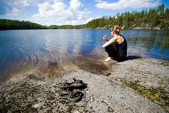 Finland_Canoeing_41 (jjay69) Tags: woman lake sitting watersedge saimaalake lakehaukivesi saimaalakesystem