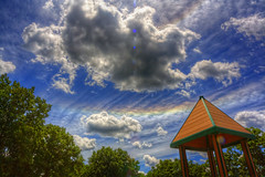 Rainbow in sky (junglejennifer) Tags: blue trees red green yellow fun happy amazing purple cheerfull