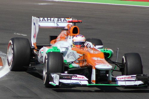 Paul di Resta in his Force India F1 car at the 2012 European Grand Prix at Valencia