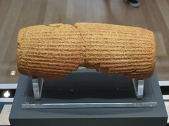 The Cyrus Cylinder (back) (marc's pics&photos) Tags: history geotagged ancienthistory ancient middleeast judaism cyrus britishmuseum mesopotamia reallyold neareast ancientpersia cyruscylinder ancientiran ancientmesopotamia ancienthistoryofthemiddleeast ancienthistoryoftheneareast
