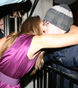 Kimberley Walsh kisses a fan, at the 21st birthday party of her younger sister Amy Walsh, which was held at the Burlington Club. London, England