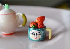 Handmade teapot and cups (ankanka) Tags: rement toys teatime teapot cups handmade miniature