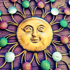 Meet Sun Junior, the Son of Mr. Sun (Thad Zajdowicz) Tags: sun decoration garden descansogardens lacaadaflintridge california zajdowicz cellphone photoshopexpress availablelight humor whimsy outdoor outside motorola droid turbo android mobile smartphone cameraphone 366 365 portrait surreal bright vivid vibrant