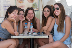 Five For Lunch (Ron Scubadiver's Wild Life) Tags: woman nikon 70300 candid street style outdoor mykonos greece group cafe girls