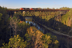 Pembina River Bridge (Moffat Road) Tags: canadiannational cn freighttrain bridge emd sd75i no5686 5686 pembinariverbridge pembinariver entwistle evansburg alberta cnedsonsubdivision canada locomotive ab train railroad
