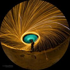 Fire in the sky (Astronomy*Domine) Tags: lake ninan westernaustralia newnorcia wonganhills steel wool led magnesium mg spin fisheye peleng canon 6d 8mm