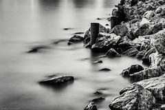 Silent shore (Anthony Plancherel) Tags: category erdek places seascape sunset time travel turkey longexposure canon1585mm canon70d canon turkiye sea seashore coast coastline coastal rocks moorings metal seaside blur waterblur blackandwhite whiteandblack monochrome bw wow