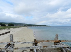 Golspie Beach, Golspie, Sutherland, July 2016 (allanmaciver) Tags: golspie beach sand sea shore pier wooden old ancient coastal east coast cloudy day walk enjoy air fresh allanmaciver sutherland