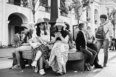 (red line highway) Tags: people street photography nikon city blackandwhite black white russia stpetersburg time social documentary downtown 35mm monochrome summer hat chinese photo