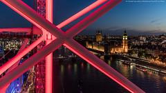 London Eye View (DSC00208) (Michael.Lee.Pics.NYC) Tags: london england unitedkingdom londoneye parliament westminster thamesriver bigben clocktower aerial night twilight bluehour unionjack 2016 sony a7rm2 fe2470mmgm