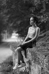 On the stone bridge (fred-4-ever) Tags: sonnar50c15zm a6000 sony noiretblanc portrait portraits face facesofportraits france young jeune blackandwhite bw bokeh beyondbokeh monochrome carlzeisscsonnar5015zm stone pierre teenager dof
