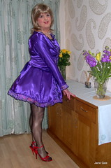 3 Flora and fauna (janegeetgirl2) Tags: transvestite crossdresser crossdressing tgirl tv ts stockings heels garters nylons glamour petticoat purple red satin dress stilettos fully fashioned high vintage seams maid black suspenders jane gee