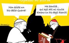 Dio della Guerra scomparso. Non si trova dice Papa Francesco ad Assisi, ma non tutti son (SatiraItalia) Tags: satira papa dio guerra