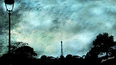 Paris Ombre chinoise (jeanfenechpictures) Tags: paris iledefrance eiffel tourisme toureiffel tower ombrechinoise chineseshadow shadow texture couleur bleue noire black rverbre streetlamp lamp arbres trees siel sky clouds nuages